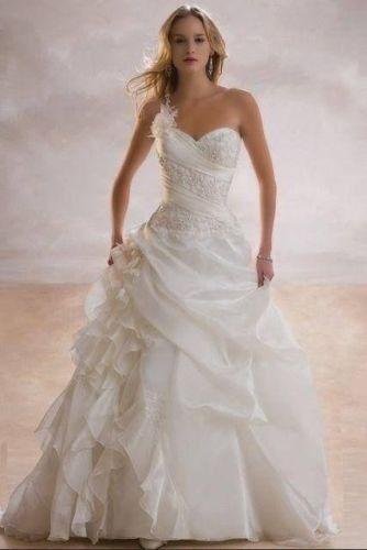 زفاف - A Line One Shoulder Robe De Mariage Floor Length Wedding Dress