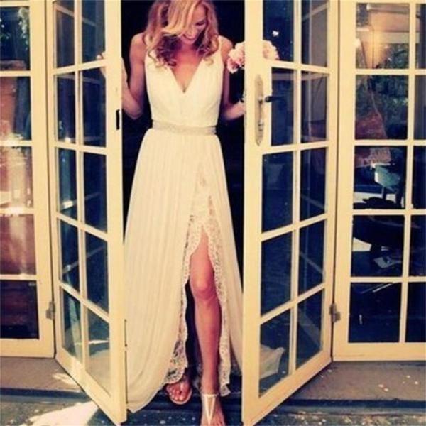 زفاف - White Prom Dresses, Long Prom Dresses, Lace Prom Dresses, Elegant Prom Dresses, Cheap Wedding Dresses, PD0020