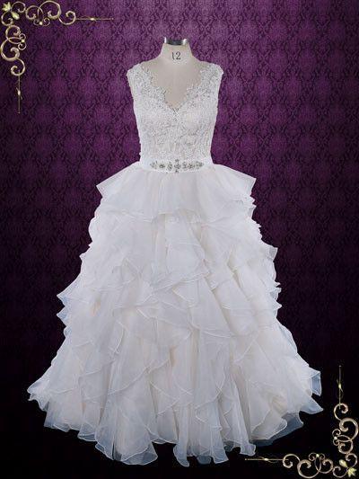زفاف - Princess Ruffle Ball Gown Wedding Dress With Lace Bodice
