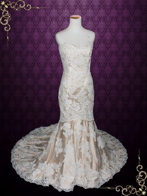 زفاف - Strapless Sweetheart Ivory Lace Mermaid Wedding Dress With Mocha Lining