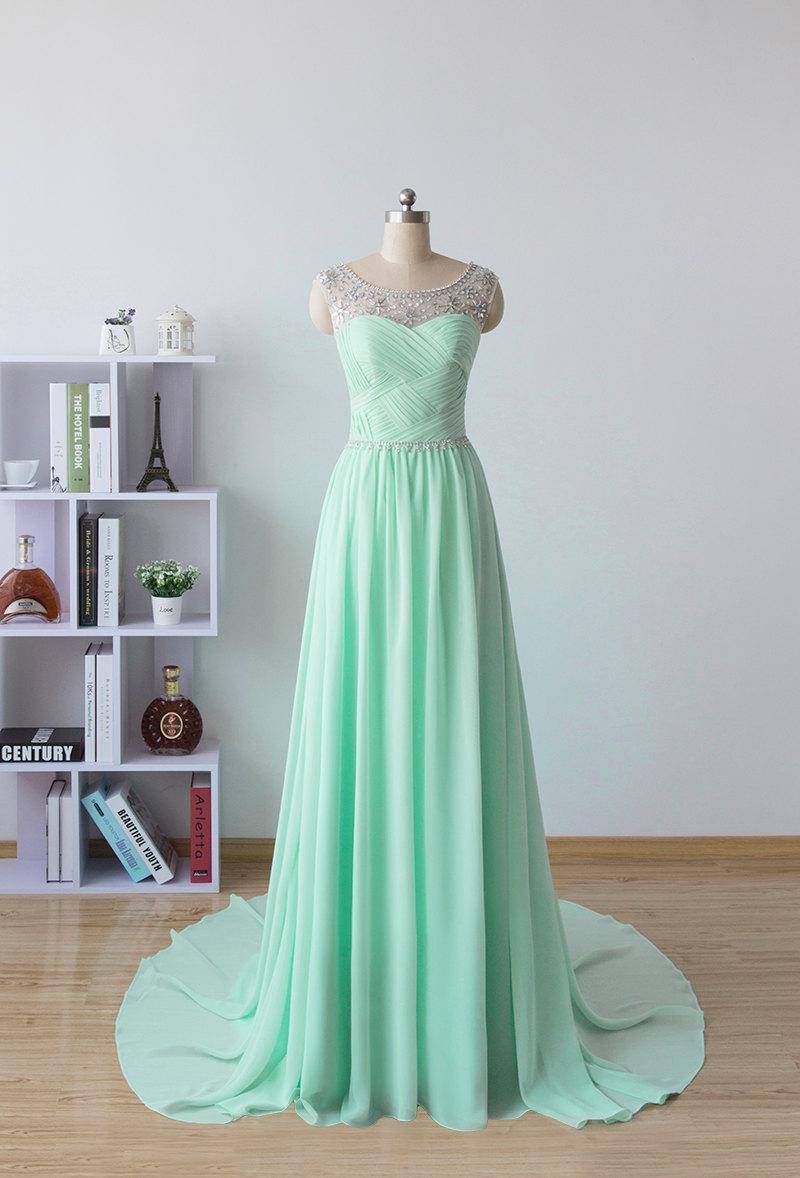 زفاف - long prom dress, chiffon formal dress, mint homecoming dress
