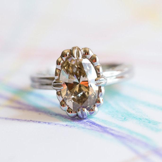 Mariage - Platinum oval diamond ring - Custom Ring Design - Champagne Diamond ring - Custom Engagement Rings - Custom Rings by Anueva Jewelry