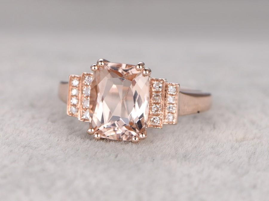 Wedding - 8x10mm Morganite Engagement ring Rose gold,Diamond wedding band,14k,Cushion Cut,Gemstone Promise Bridal Ring,8-Prongs,Pave Set,Handmade
