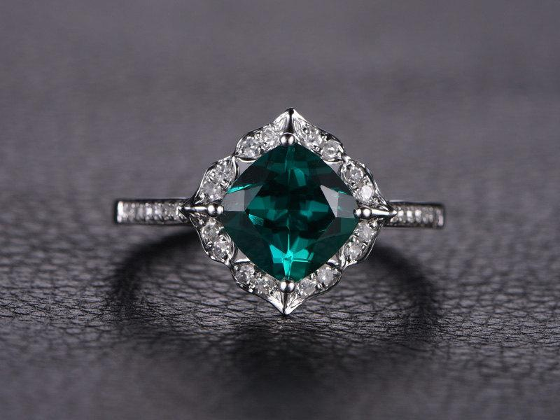 Emerald Engagement Ring Cushion Cut Ring 14k White Gold Emerald Ring