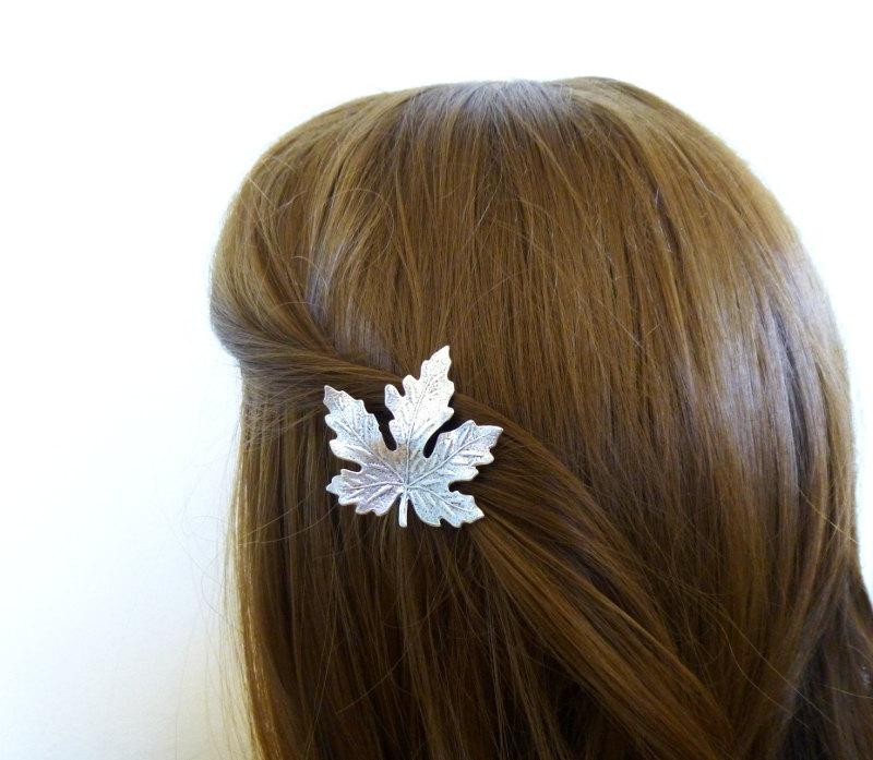 Mariage - Fall Wedding Hair Clip Silver Maple Leaf Barrette Autumn Rustic Woodland Forest Garden Bridal Accessories Girlfriend Womens Gift For Her