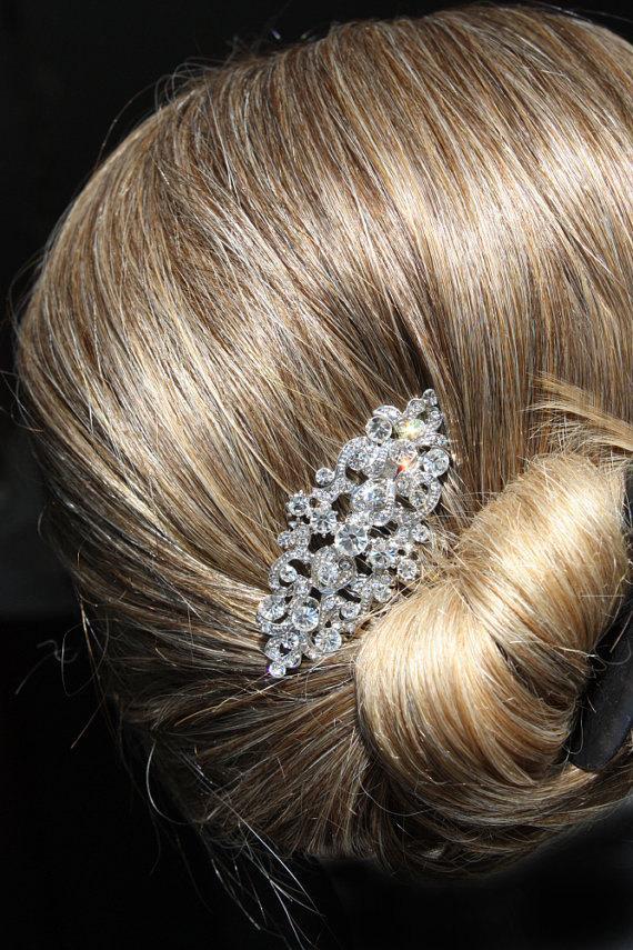 Mariage - vintage silver bridal hair comb,wedding hair comb,wedding hair accessories,bridal headpiece,crystal wedding comb,rhinestone bridal comb