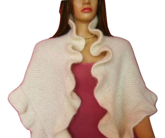 Mariage - Bridal Ruffle Shawl, Off White Mohair Three Sides Ruffled Cute Shawl, Ready to Ship, Handknit, Express Delivery