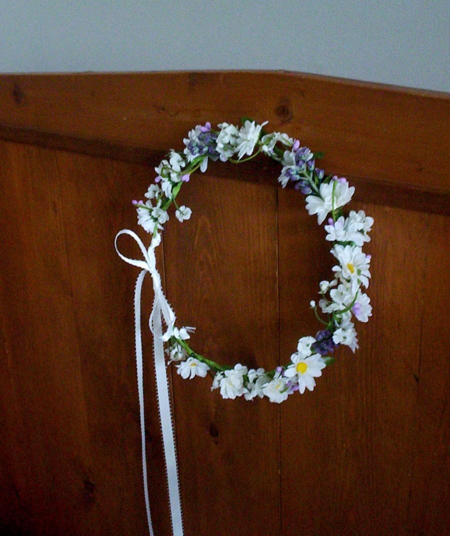 Mariage - Hair flower crown flower girl halo Bridal headpiece wedding accessories, daisies purple lavender Woodland country bride headwreath Coachella