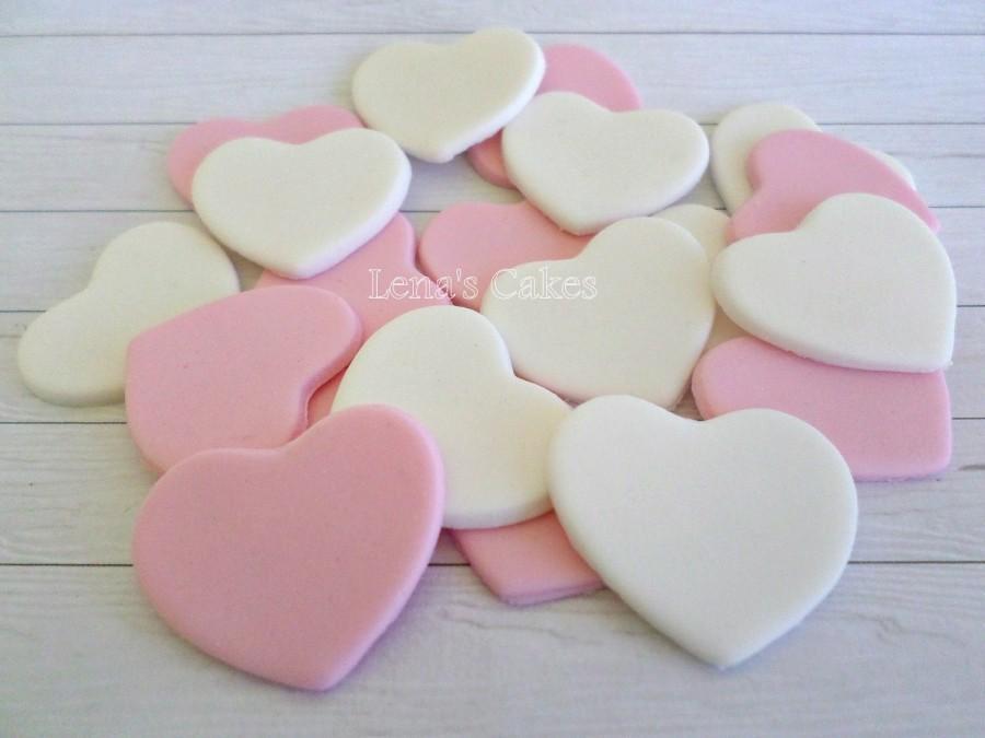 زفاف - Sugar Candy Hearts Edible Cake Fondant Cupcake Topper, Wedding Edible Favor Heart, Pink White Party Decor, Engagement Anniversary Decor