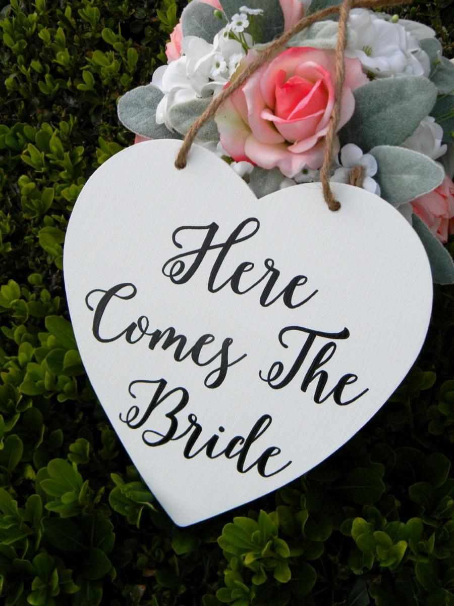Here Comes The Bride Sign Rustic Wood White Wedding Sign Wood Heart ...