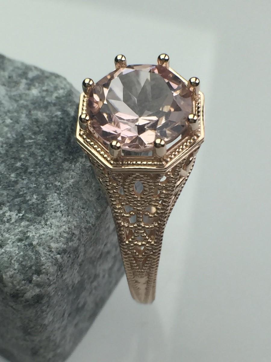 14k Rose Gold Morganite Vintage Engagement Ring 2593439 Weddbook