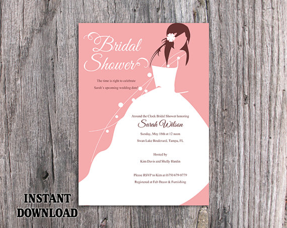 DIY Bridal Shower Invitation Template Editable Word File Instant Download  Printable Invitation Bride Invitation Modern Chic Pink Invitations  Bridal Shower Invitation Templates Download
