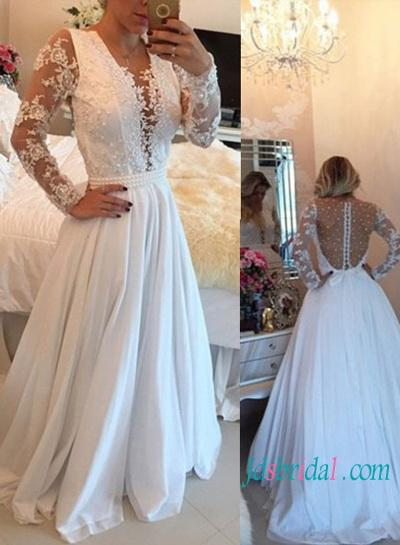 Sexy Illusion Pearls Detailed Back Chiffon Wedding Dress 2593459