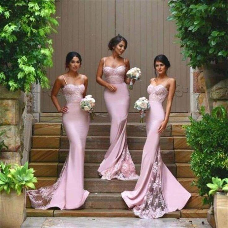 Wedding - Sexy Prom Dresses,Mermaid Bridesmaid Dresses,Spaghetti Straps Bridesmaid Dresses,2016 Cheap Bridesmaid Dress With Lace Appliques, Wedding Party Dresses,Long Bridal Gowns, PD0010