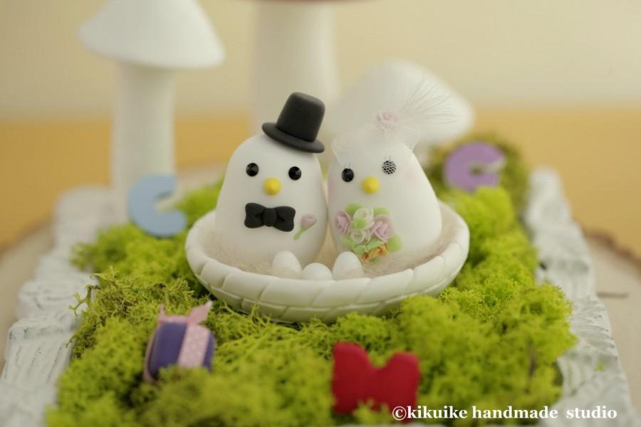Свадьба - love bird with nest Wedding Cake Topper (K357)