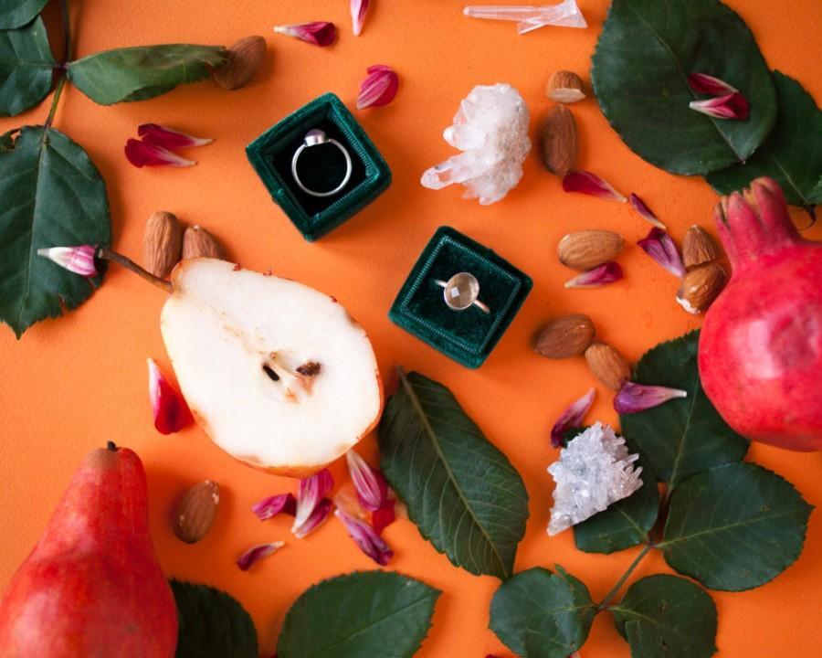 Mariage - Free shipping! Deep Emerald  Green  Velvet Ring Box Handmade Wedding Vintage  Engagement Gift Bride