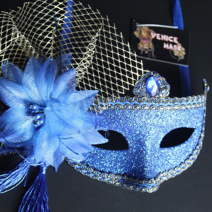 Свадьба - Royal Blue Venetian Floral Glitter Masquerade  Mask for Prom Ball Mardi Wedding Party  5E3A  SKU: 6E51