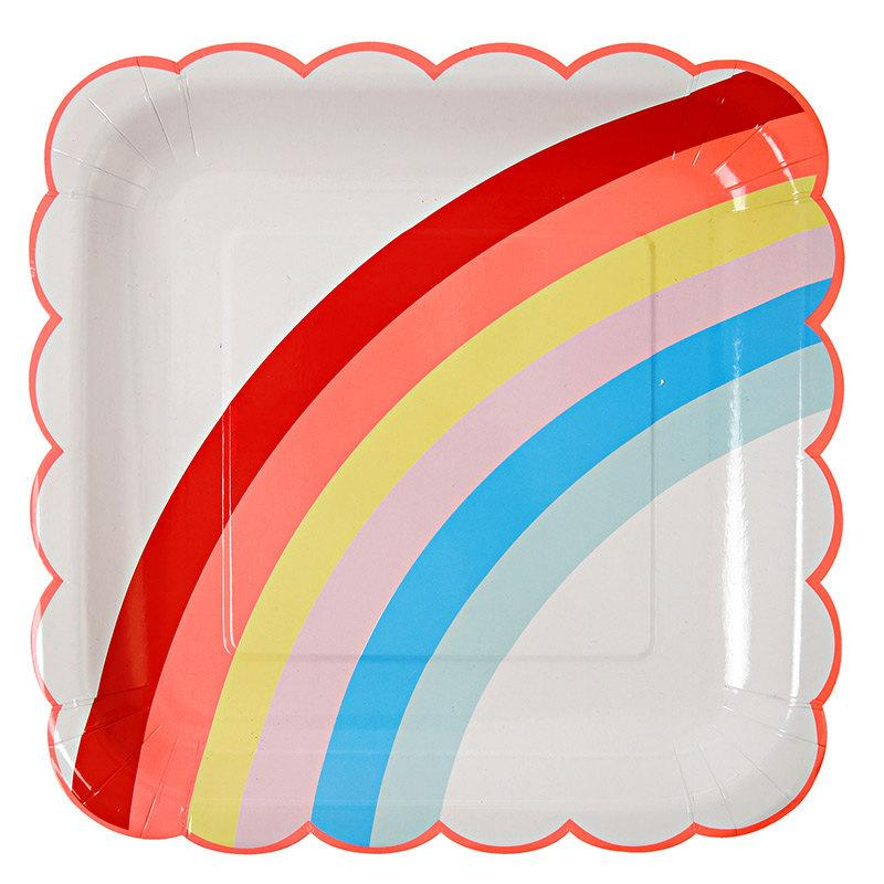 Hochzeit - Rainbow Paper Plates (Set of 12) Meri Meri Large Plates, Rainbow Birthday Party Decor, Rainbow Party Supplies, Rainbows and Unicorns Plate