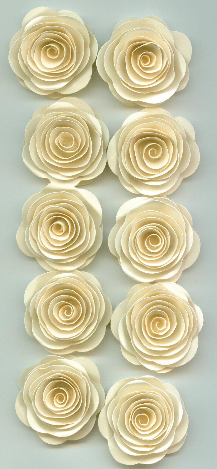 Mini Sand Ivory Roses Spiral Paper Flowers For Weddings Bouquets