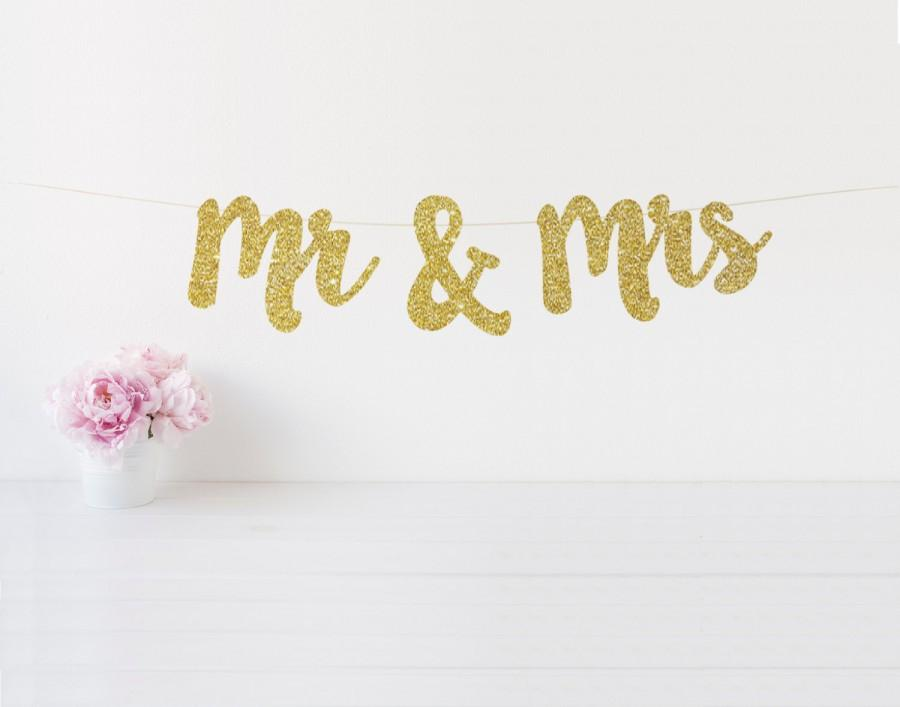 Свадьба - Mr & Mrs Banner, Mr and Mrs Glitter Banner, Sweetheart Table Sign, Wedding Chair Signs, Wedding Day Banner, Wedding Photo Prop