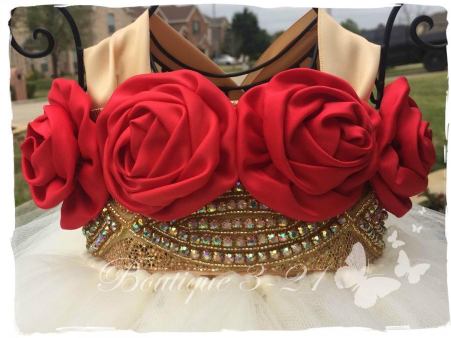 ivory, red, gold tutu dress, ivory flower girl dress, red flower, Natural flower