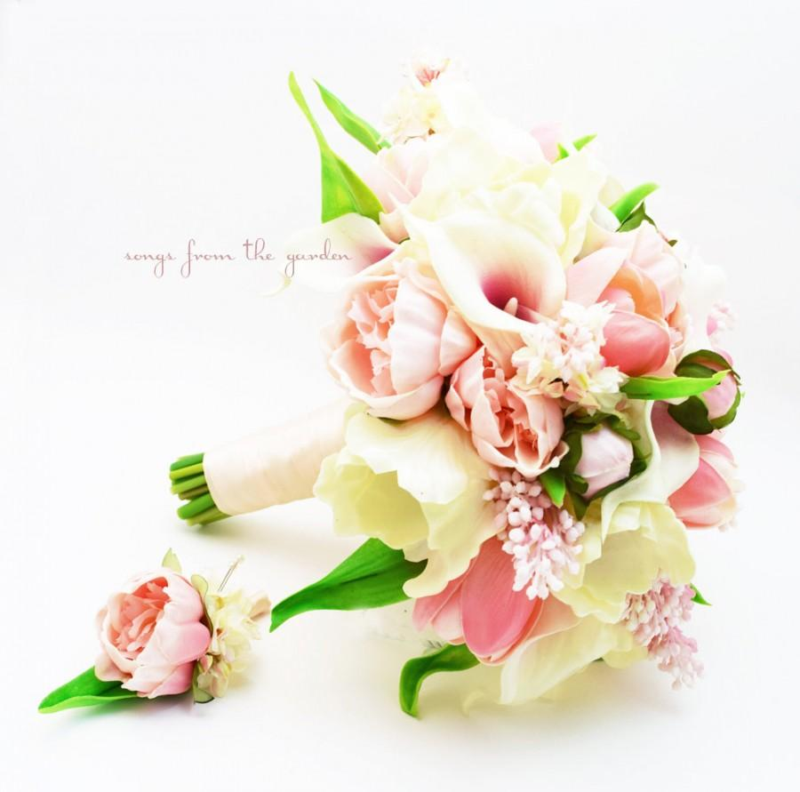 Wedding - Blush Bridal Bouquet Pink Lilac Peonies Callas Lilies Tulips - Pink Wedding Bouquet - Bridal Bouquet Peony Groom's Boutonniere