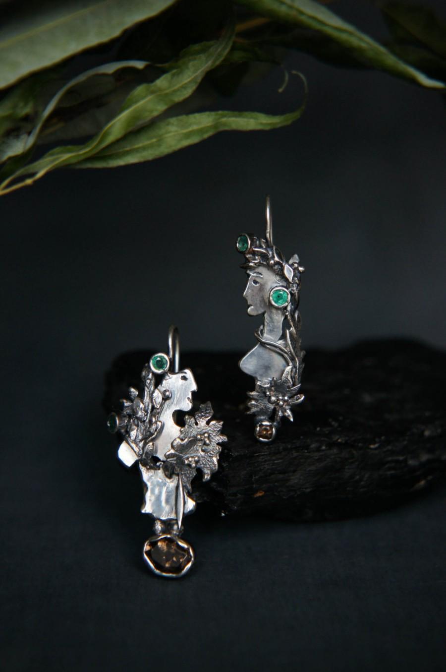 Wedding - Mismatched earrings, sterling silver earrings, modern earrings, emerald earrings, contemporary jewelry, unique earrings, designer jewelry