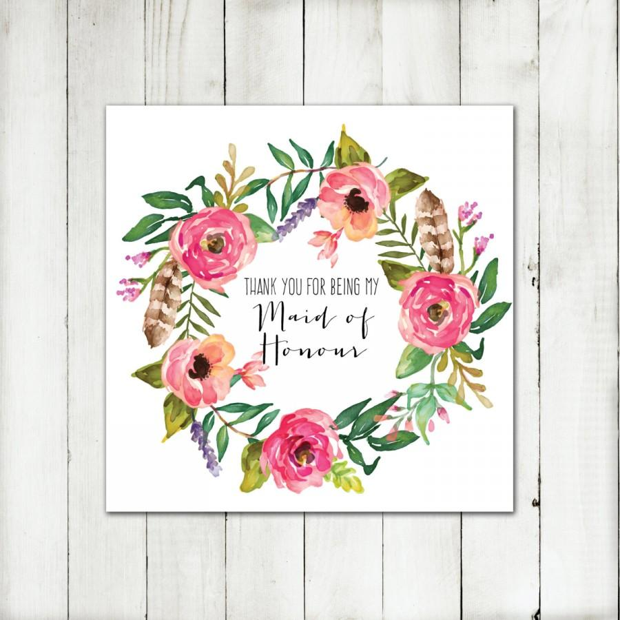 Свадьба - Printable - 'Thank you for being my Maid of Honour' Boho Floral Wreath Card