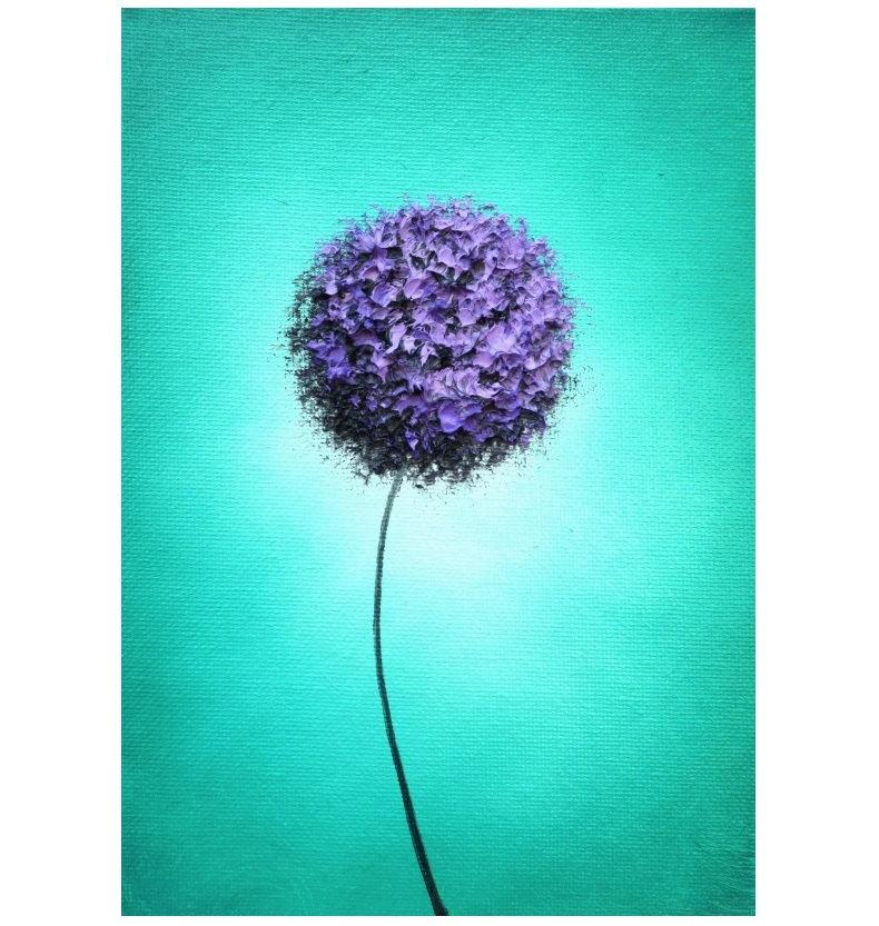 Purple Flower Oil Painting Abstract Wall Art Picture: ORIGINAL Painting, Abstract Art Flower Painting, Modern