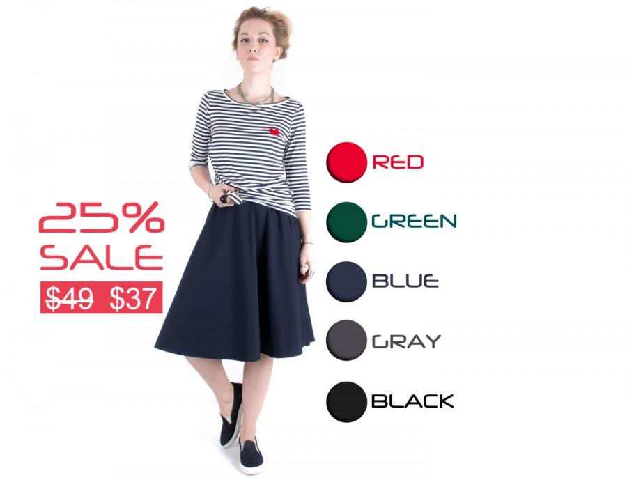 Hochzeit - Midi skirt Blue skirt Women fashion Hand made skirt Women clothing Half circle skirt Classic skirt Round skirt Wide skirt