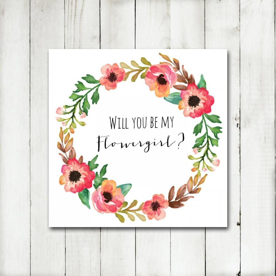 Hochzeit - Printable - 'Will you be my Flower girl?' Autumn Floral Wreath Card
