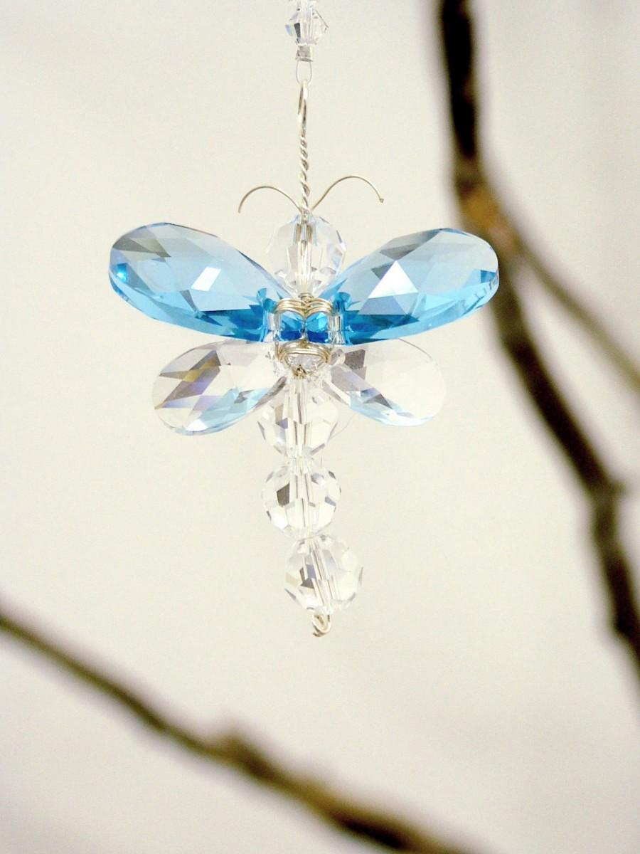Swarovski Crystal Suncatcher Rear View Mirror Charm Blue Dragonfly Mobile Nursery Decor Car Baby Boy Gift Idea Window