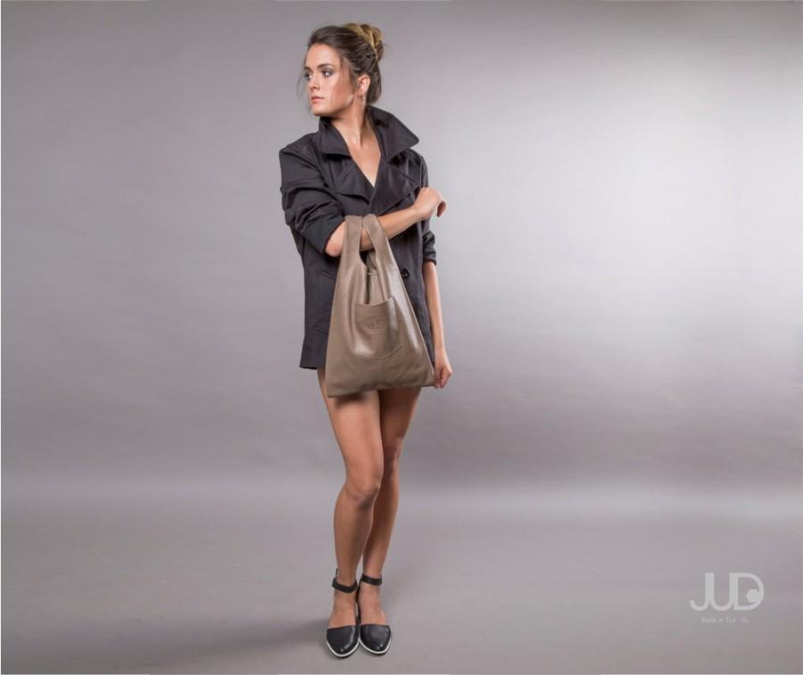 Düğün - Leather tote - Olive gray Leather bag - women bags SALE sack bag - leather shoulder bag leather handbag - shopper bag brown leather bag