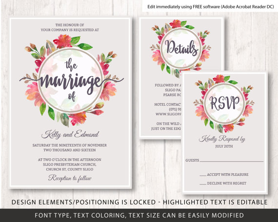 Свадьба - floral wreath wedding invite template, flowers wedding invitation template, wedding invite template, printable wedding invitation set,