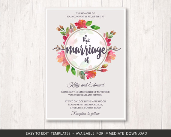 Nozze - flowers wedding invite template set, printable wedding invitation set, flower circle wedding invitation template, floral wedding template