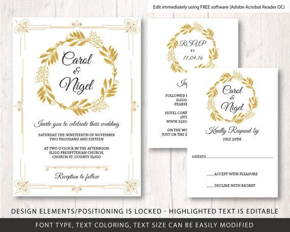 Gold Wedding Invite Template Diy