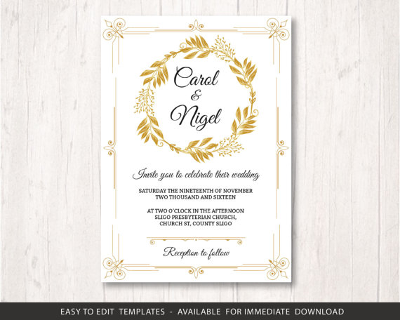 picture relating to Wedding Stationery Printable called Gold Wedding ceremony Invite Template, Printable Marriage Invitation
