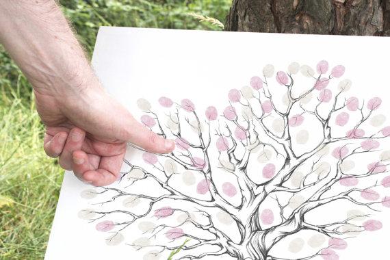 Guestbook Ideas, Fingerprint Printable, Wedding Gift Ideas, Pink ...