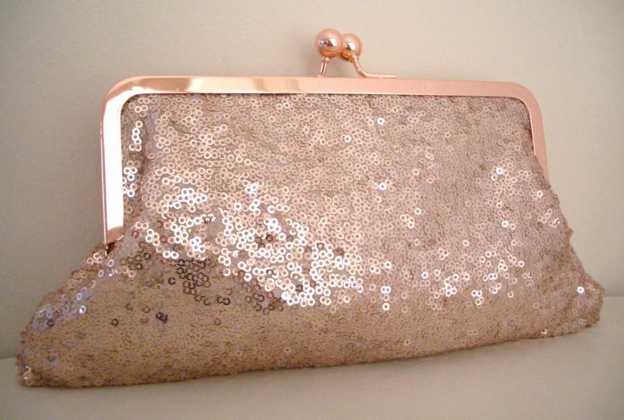 Свадьба - Sequin Rose Gold Evening Bag, purse, clutch bag, Sequin Fabric no.1