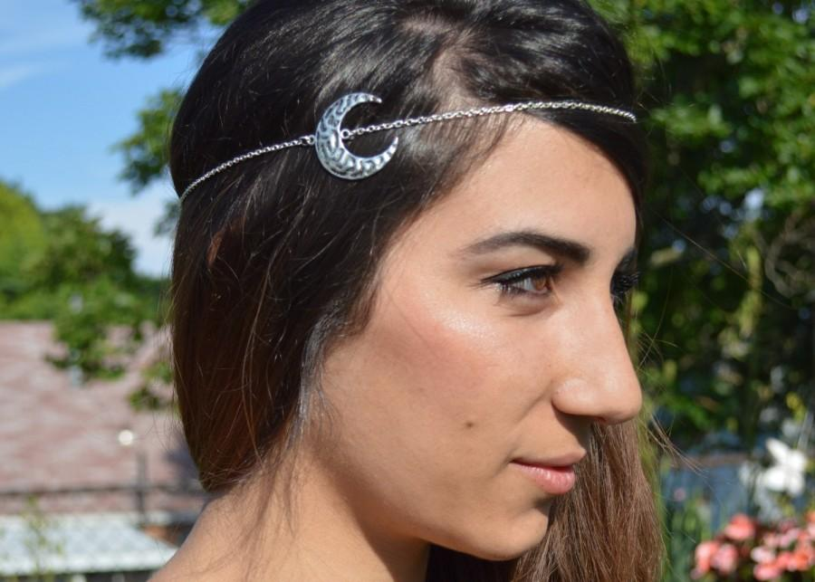 Свадьба - Moon Head Piece // Headdress // Bohemian Head Accessory // Headband // Crescent Hair Accessory // Boho Head Chain