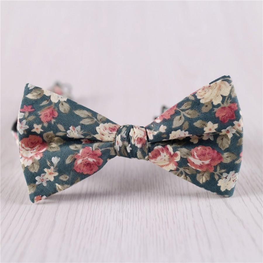 Свадьба - army green bowties.floral printed bowtie.self tie bow tie.vintage cotton bowties.mens cheap bowties.wedding bowties.groomsmen bowtie+bt45