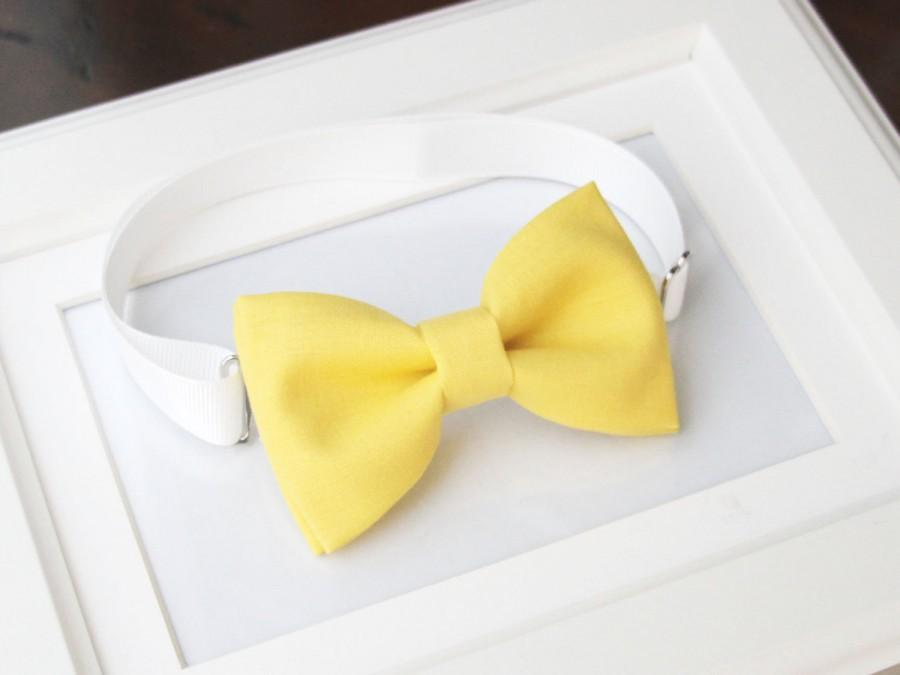 Свадьба - Light yellow bow-tie for baby toddler teens adult - Adjustable neck-strap