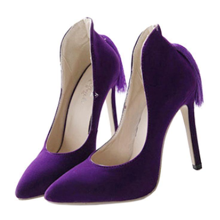 Wedding - Back Heel Tassel Pointed Thin High Heel Low-cut Wedding Shoes Purple