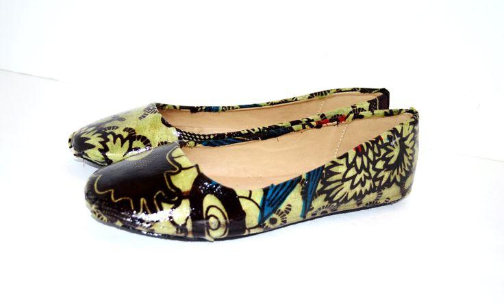 Свадьба - Olive African Print Shoes,Luxury Bridal Flats, Wedding Shoes, Prom Party Shoes