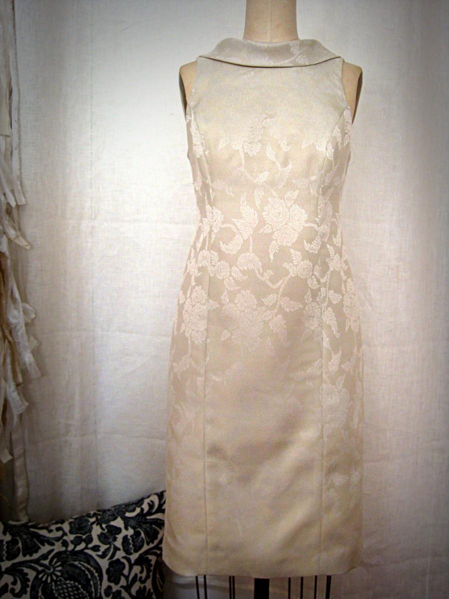 Boda - Ivory Brocade Retro Sheath City Hall Wedding Dress
