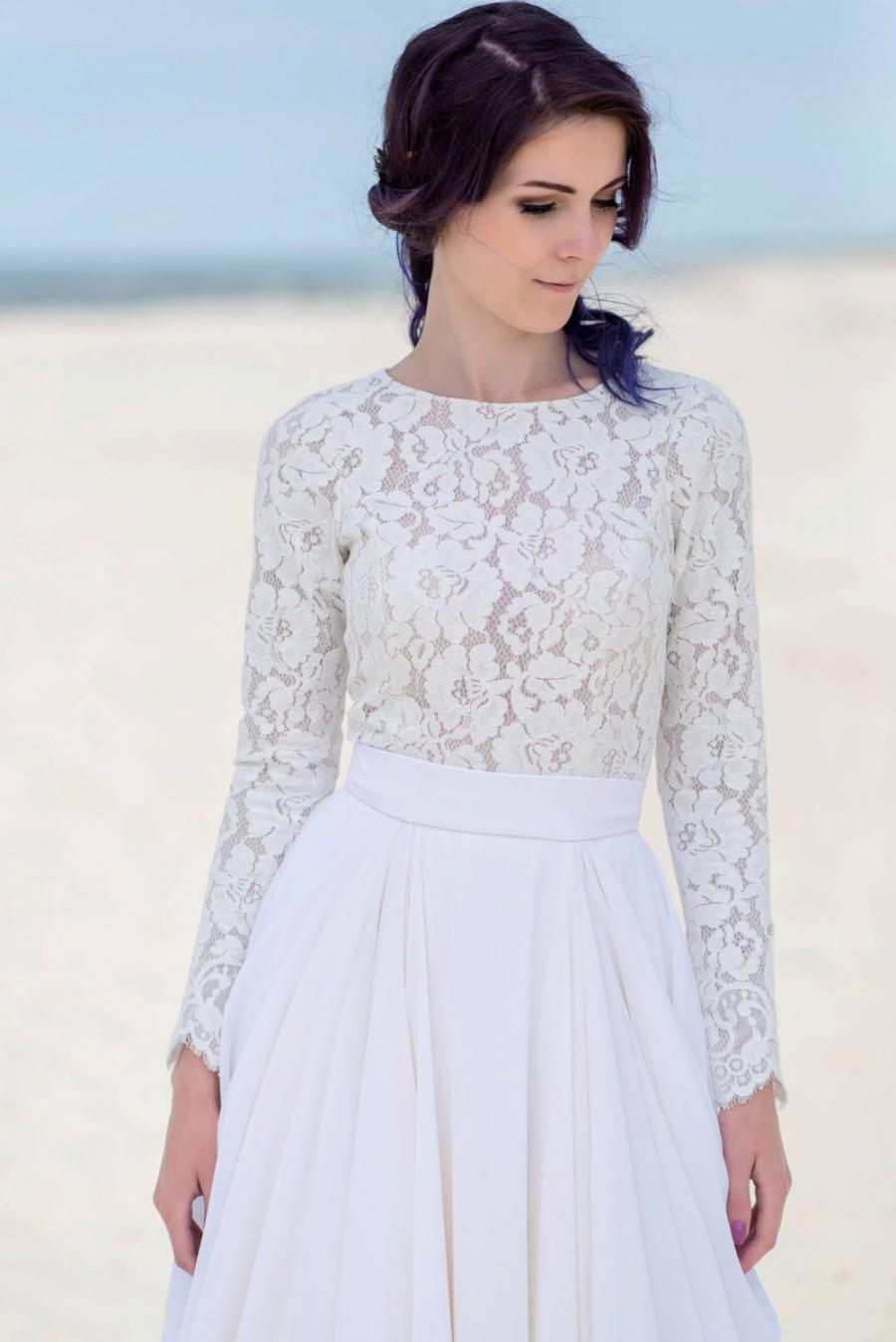 Eirene Long Sleeve Bridal Top Sweater Blouse Thick Lace Separate