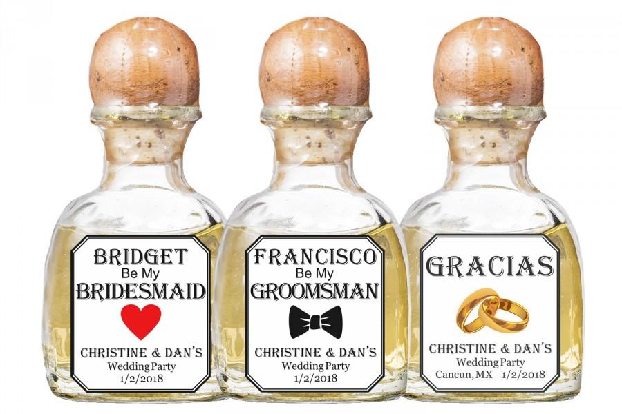 Hochzeit - Mini Tequila Label Customizable Text Wedding 50ml Bottle Stickers Personalized Custom Best Man, Groomsman, Bridesmaid, Thanks etc
