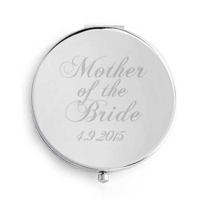 Свадьба - Mother of the Bride Wedding Compact Mirror, Personalised Date engraved