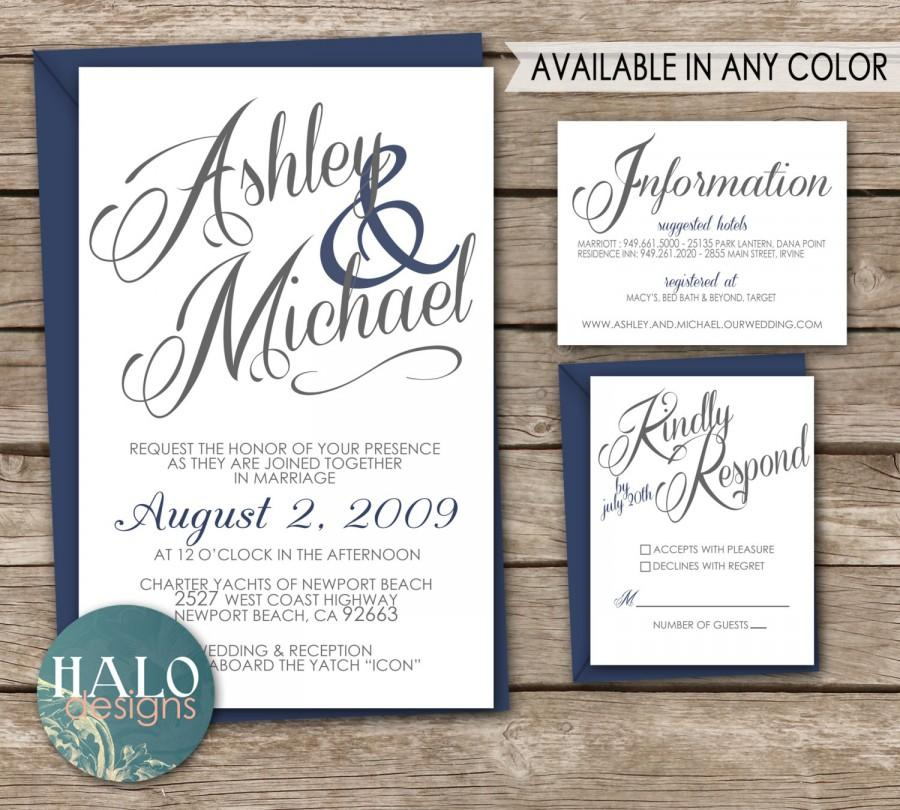 Свадьба - Classic White Wedding Invitations - Invitation, RSVP postcard, Info card, Printable, navy blue