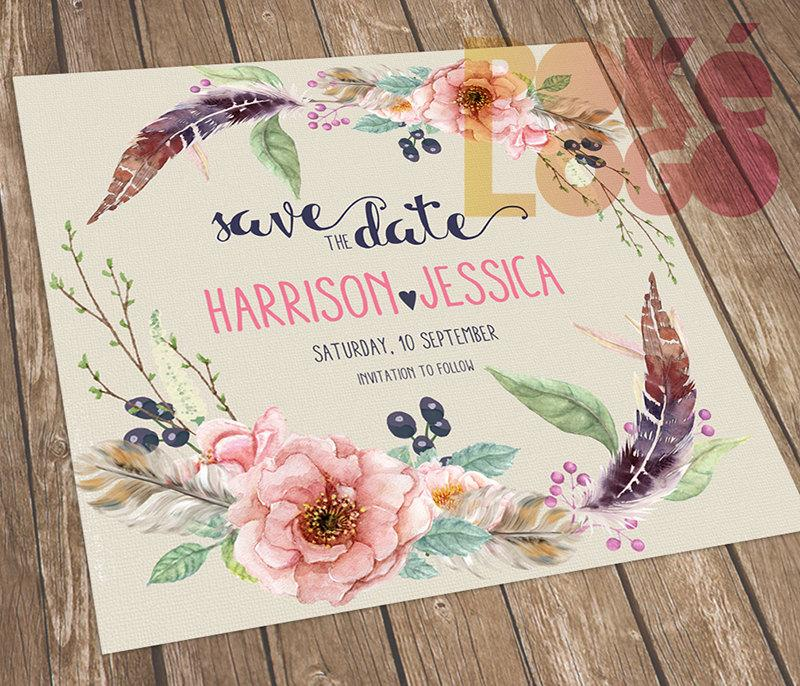 Mariage - Save the Date, Boho Wedding, Bohemian Wedding, Printable Save The Date, Rustic Wedding, DIY, Spring, Digital, Watercolor flowers feathers